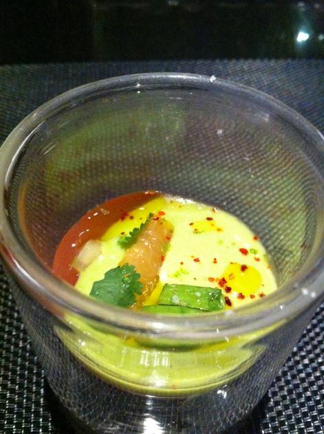 avocado grapefrui tand coriander gel at l'atelier joel robuchon las vegas