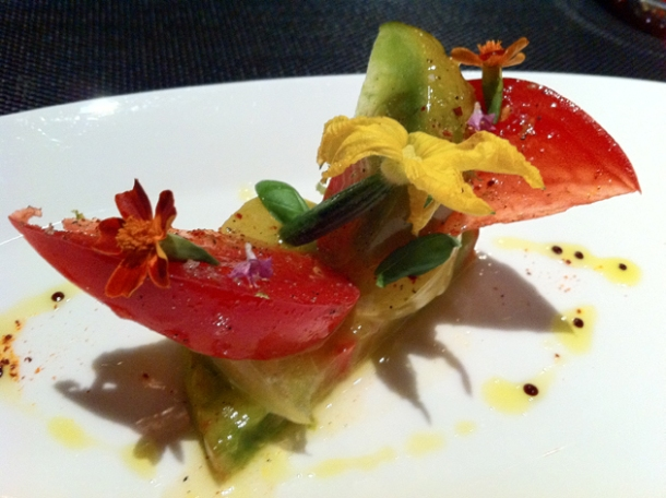 tomato salad in basil oil at l'atelier joel robuchon las vegas