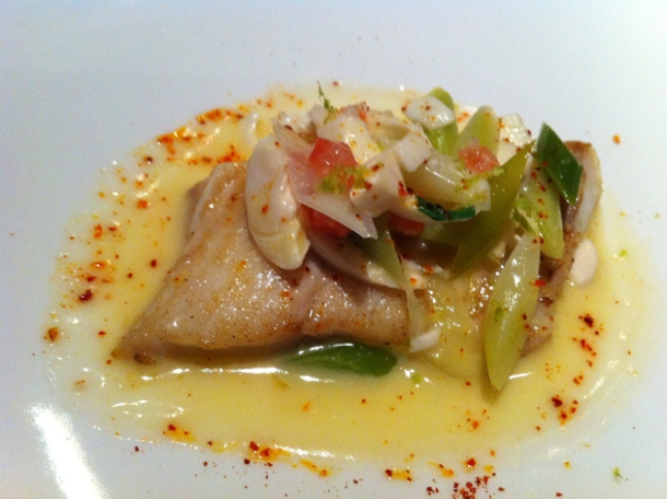 turbot and leeks at l'atelier joel robuchon las vegas