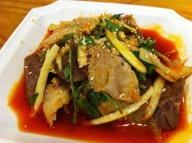 sliced beef and tripe at san xia ren jia