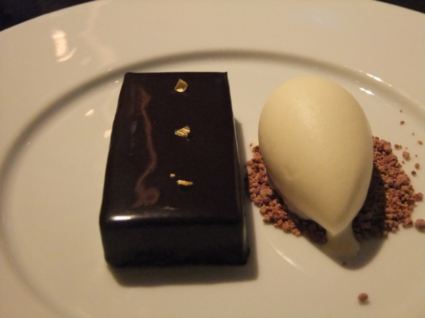 chocolate bar with ginger ice cream at dinner by heston blumenthal