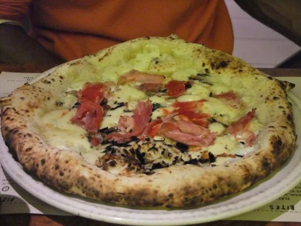 gloucester old spot ham pizza at franco manca chiswick