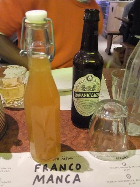 lemonade and beer at franco manca chiswick