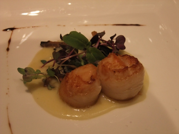 scallops in leek potato cream at babbo london