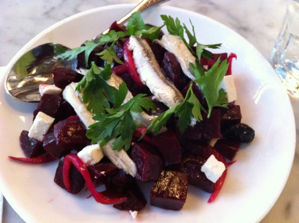 beetroot, white anchovies and ricotta salad at motorino