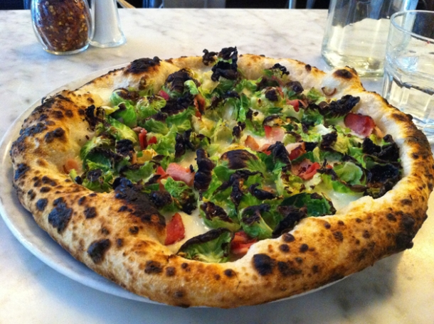 brussel sprouts and smoked pancetta pizza at motorino