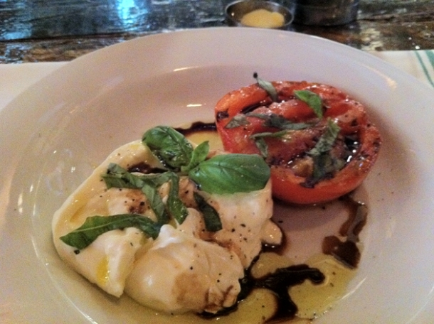 burrata and tomato salad at st anselm