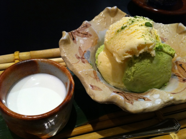 green tea ice cream and coffee jelly in coconut milk at hakubai