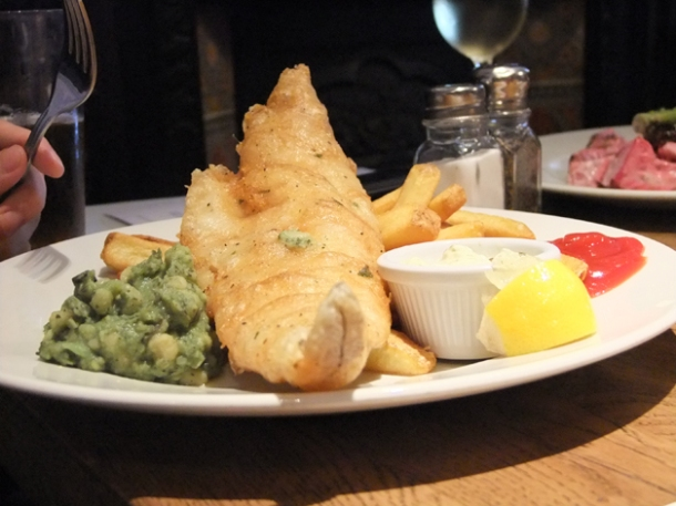 beer battered fish and chips at the crown and sceptre