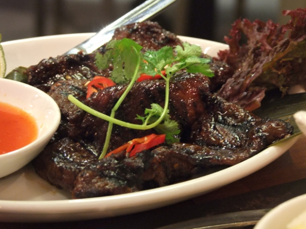 chargrilled blackened chilli pork at banana tree indochina kitchen wardour street