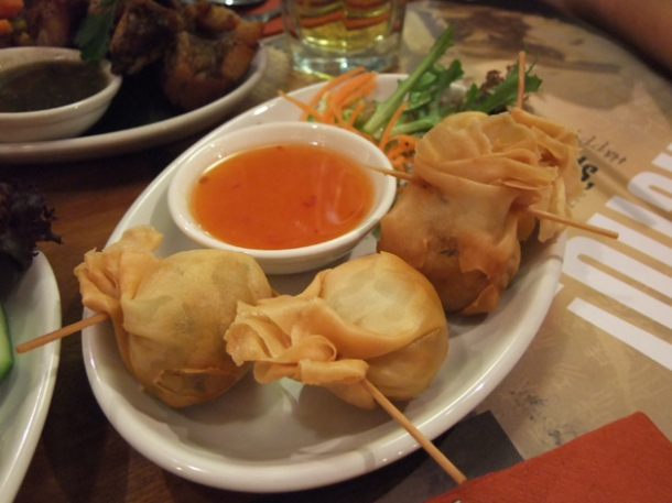 chicken money bags at banana tree indochina kitchen wardour street