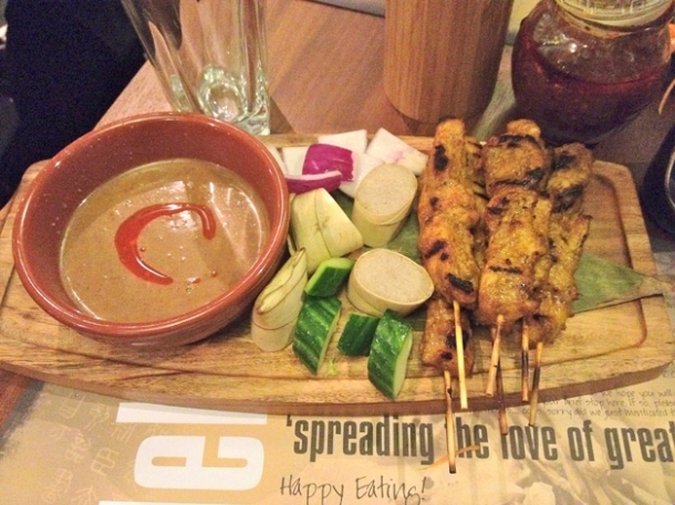 chicken satay at banana tree indochina kitchen wardour street