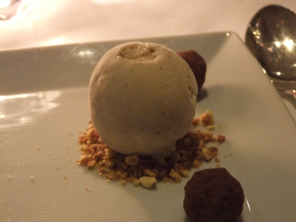 with coffee ice cream and salt caramel truffles at the notting hill brasserie