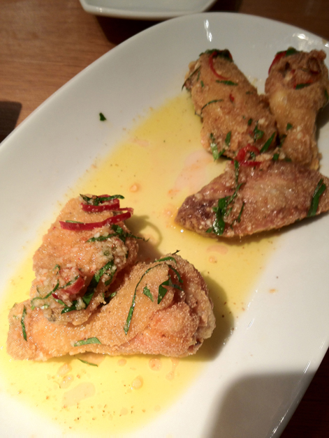 chicken wings in garlic lemon and chillies at fino