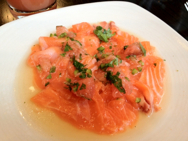 salmon ceviche at bread street kitchen