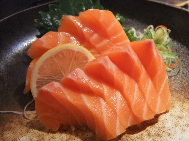 salmon sashimi at satsuma
