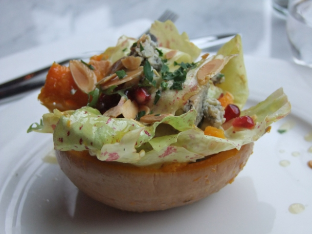 butternut squash with blue cheese and pomegranate at pizarro