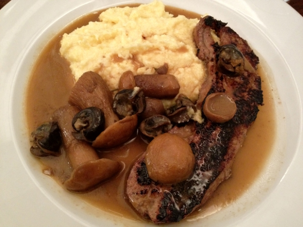 calves liver, snails, polenta and cep at duck soup