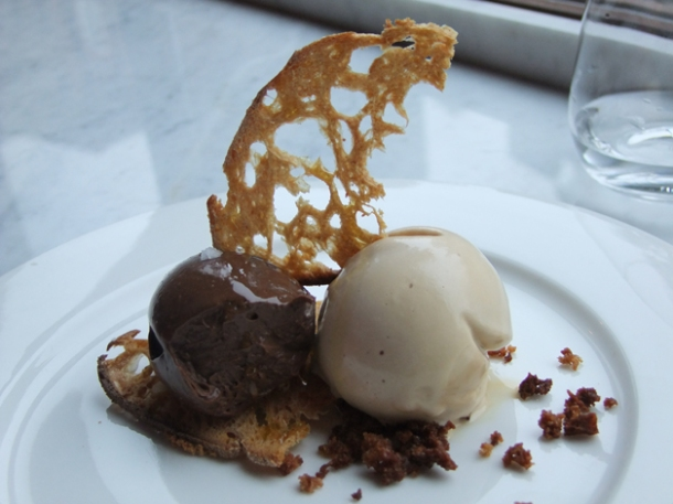 chocolate on toast with hazlenut ice cream at pizarro