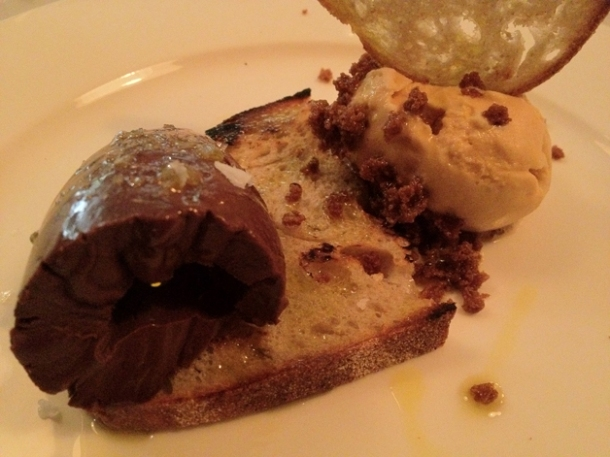 chocolate on toast with olive oil and hazlenut ice cream at pizarro