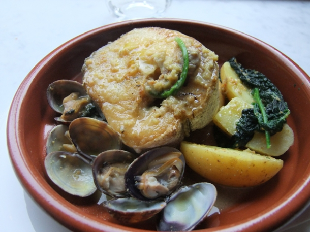 hake with clams and black cabbage at pizarro