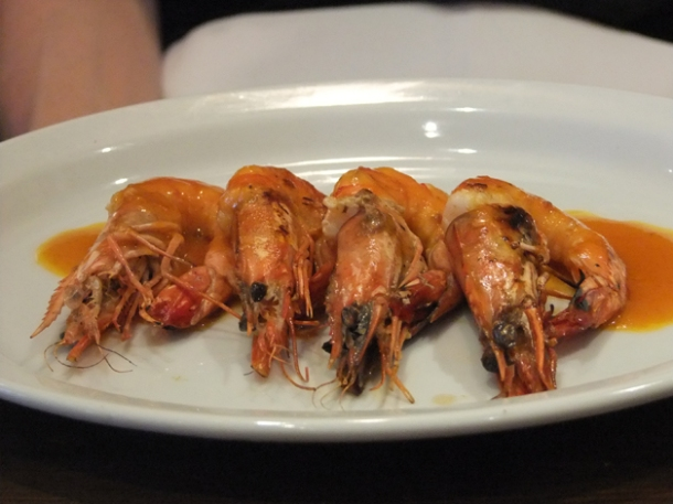 tiger prawns in piri piri butter at about thyme