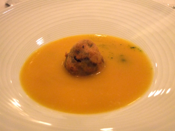 butternut soup with mushroom tempura at morgan m