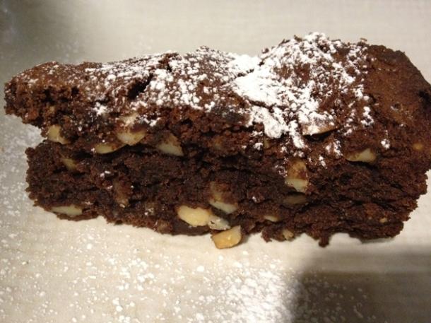 chocolate and almond cake at obika