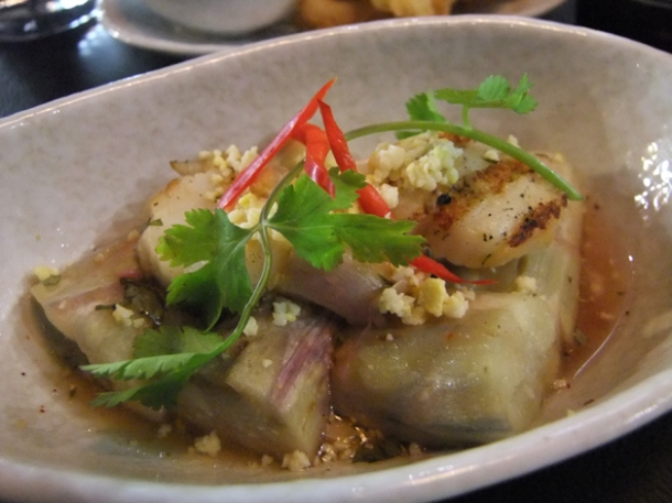 aubergine salad with grilled scallops at suda