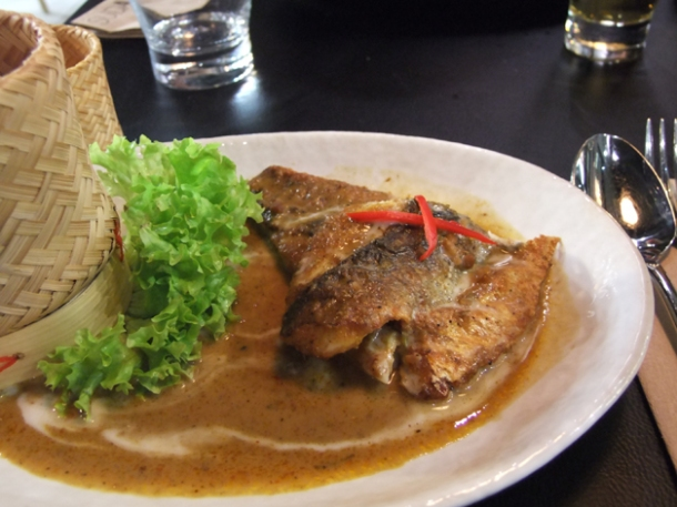 sea bass in red curry sauce at suda