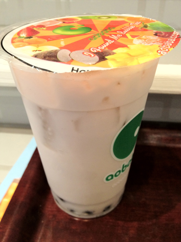 taro and coconut bubble tea at aobaba