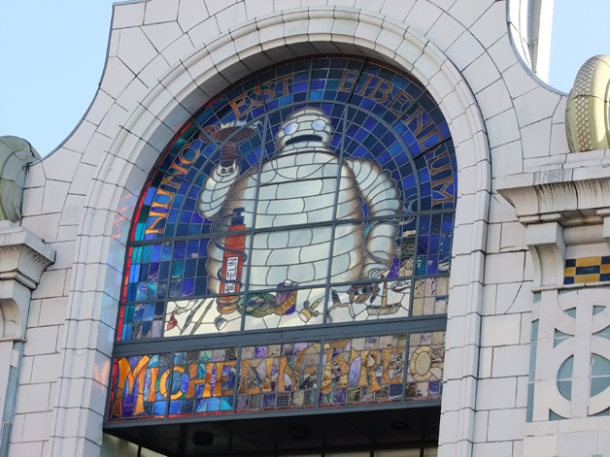 bibendum exterior stained glass window