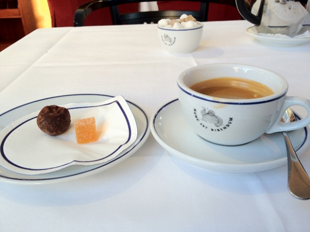 coffee and petit fours at bibendum