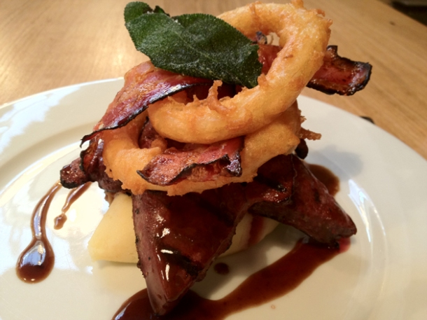 liver, bacon and onion rings at tom's kitchen kensington and chelsea