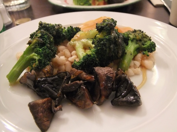 roasted broccoli with white beans, pickled mushrooms and braised swede at orchard holborn