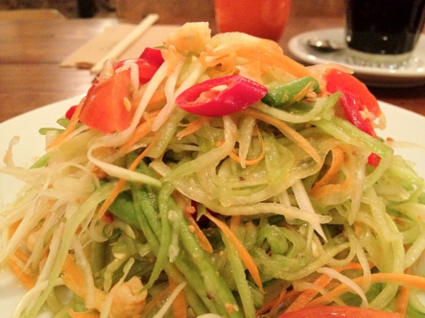 thai green papaya salad at kin holborn