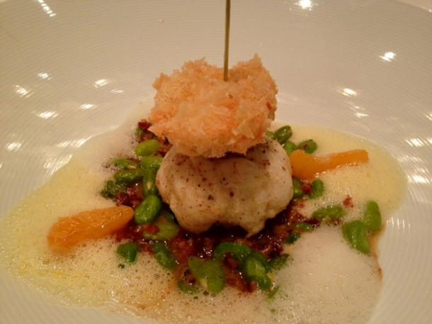 anglerfish with blood sausage and tangerine at anna sacher