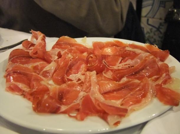 serrano ham at Los Caracoles