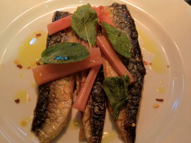 mackerel, rhubarb, chilli and mint at karpo