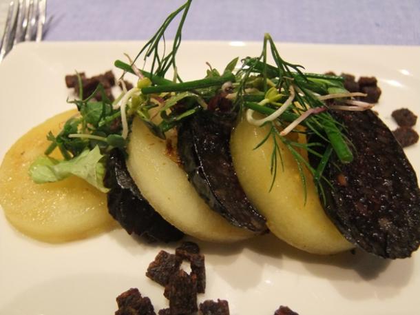 smoked black pudding with pumpernickel at mediterraneo vienna