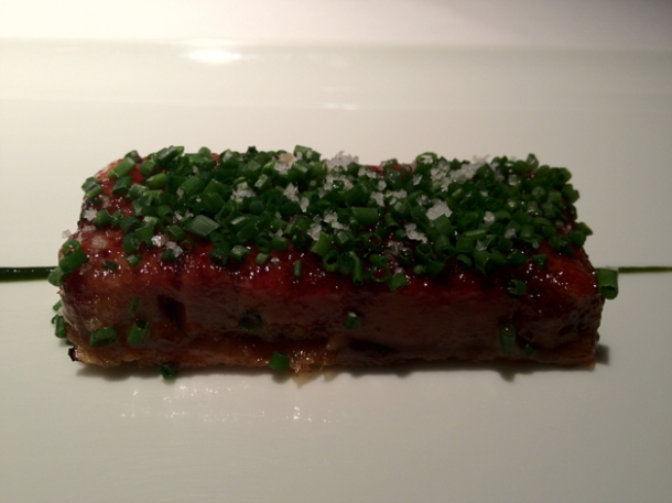 caramelised foie gras terrine at cinc sentits