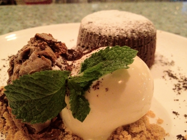 chocolate fondant with mole ice cream at la bodega negra
