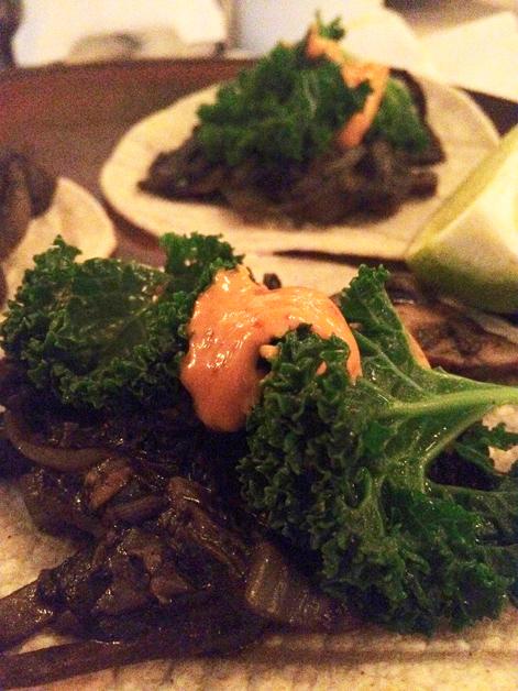kale and mushroom tacos at la bodega negra
