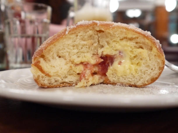 plum custard doughnut at hawksmoor guildhall breakfast