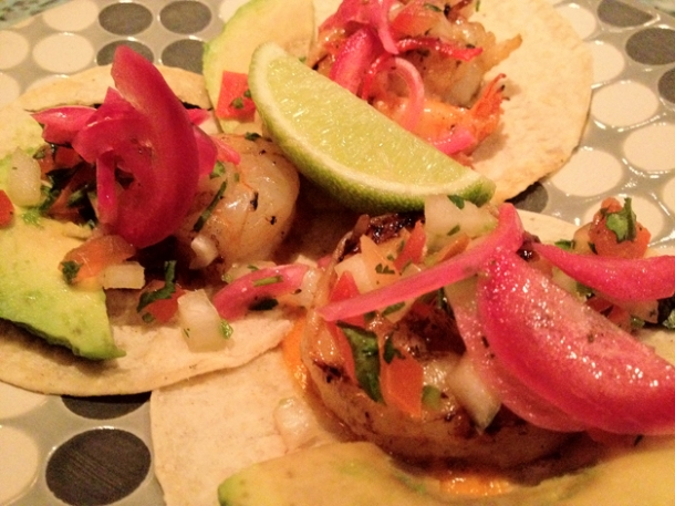 prawn tacos at la Bodega negra