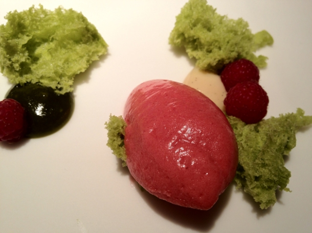 raspberry sorbet with vanilla cream and pistachio cake at cinc sentits