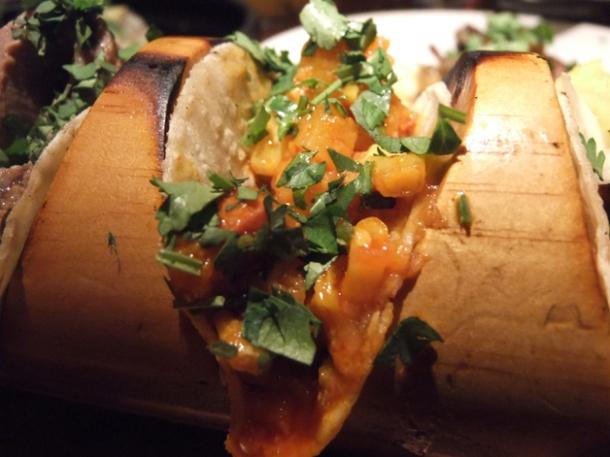roasted squash and chorizo tacos at la bodega negra restaurant