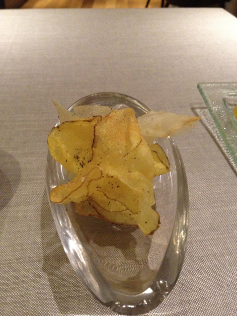 root vegetable crisps at saüc