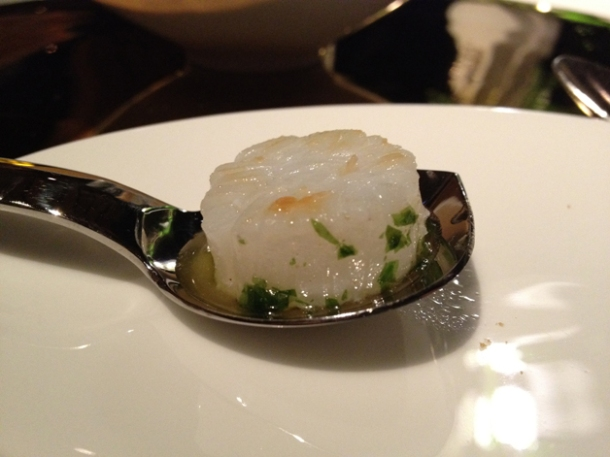 scallop - squid, seaweed and nut patty amuse bouche at moments mandarin oriental hotel barcelona