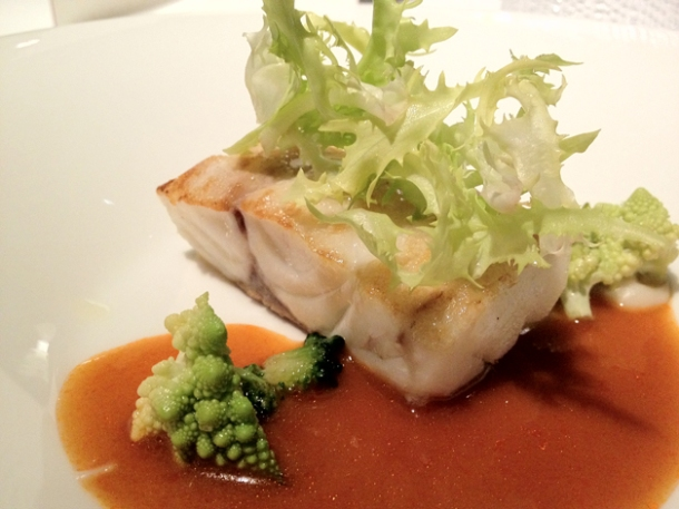 sea bass and romanesco broccoli at moments mandarin oriental hotel barcelona
